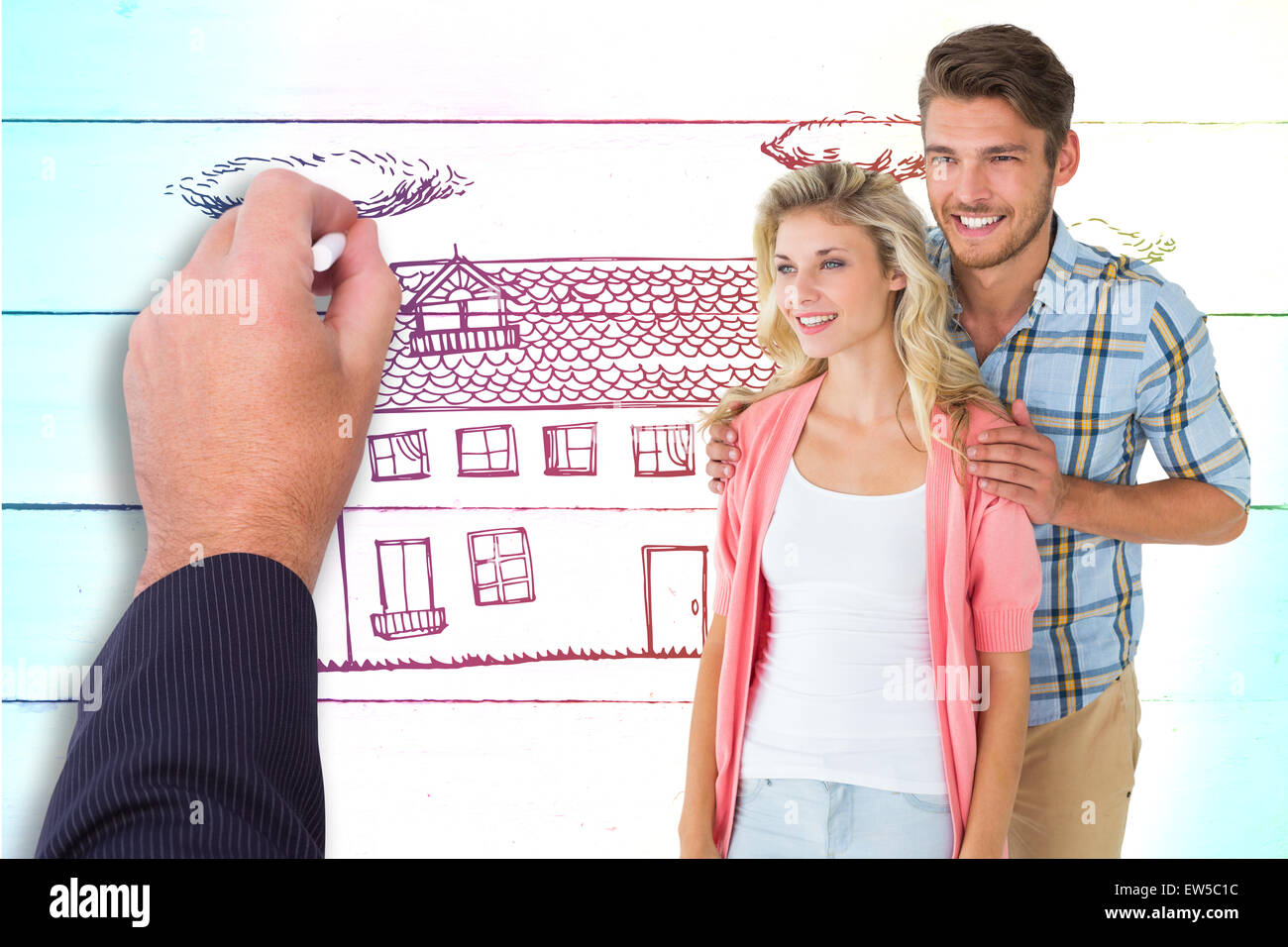 Composite image of attractive young couple smiling together - Stock Image