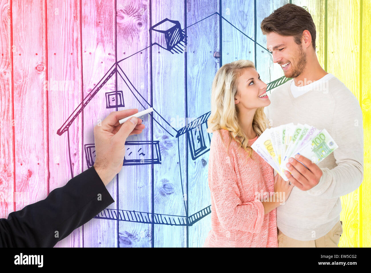 Composite image of attractive couple flashing their cash - Stock Image