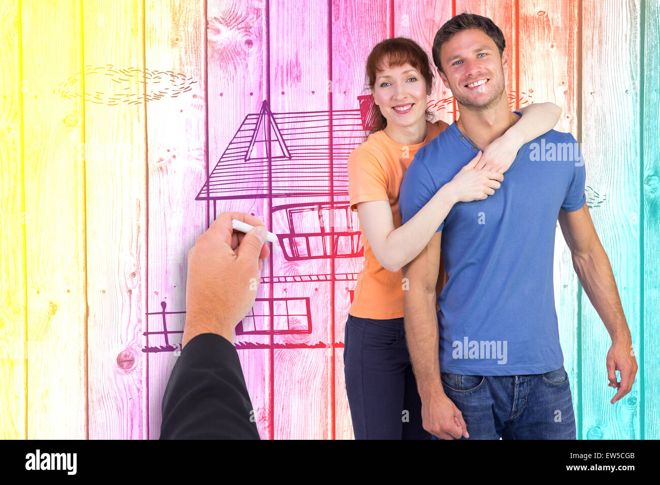 Composite image of happy couple looking at camera - Stock Image
