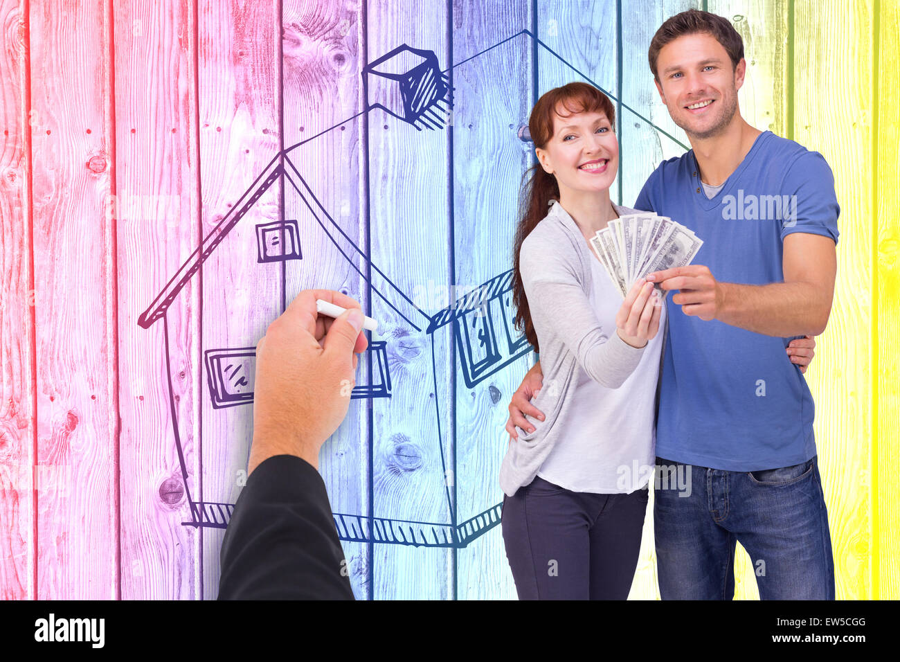 Composite image of couple holding fan of cash - Stock Image