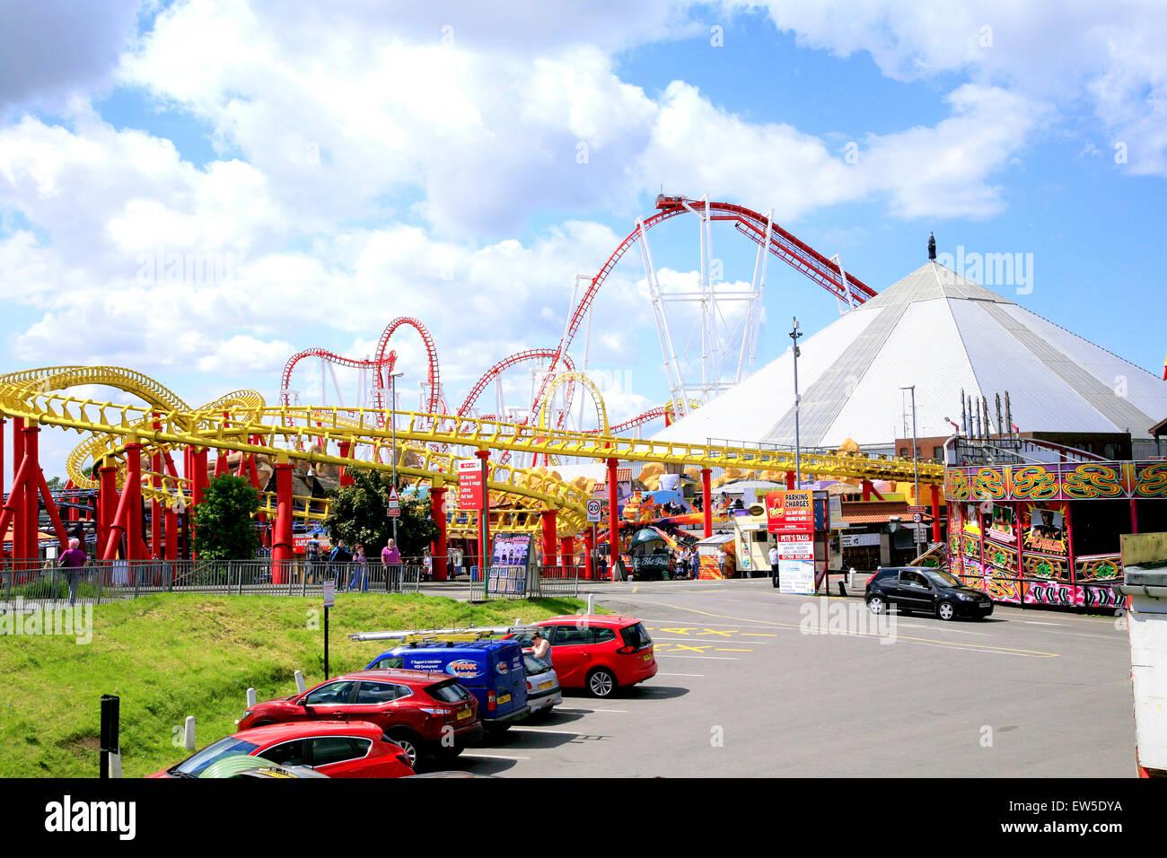 INGOLDMELLS, SKEGNESS, LINCOLNSHIRE, UK. JUNE 03, 2015. The funfair amusements at Ingoldmells at Skegness in Lincolnshire, - Stock Image