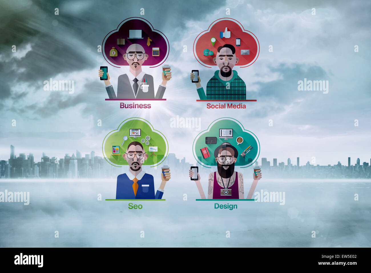 Composite image of different careers - Stock Image