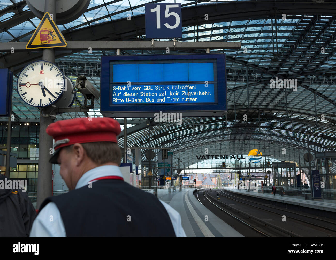 Berlin, Germany, Berlin Central Station, train affected by the GDL strike - Stock Image