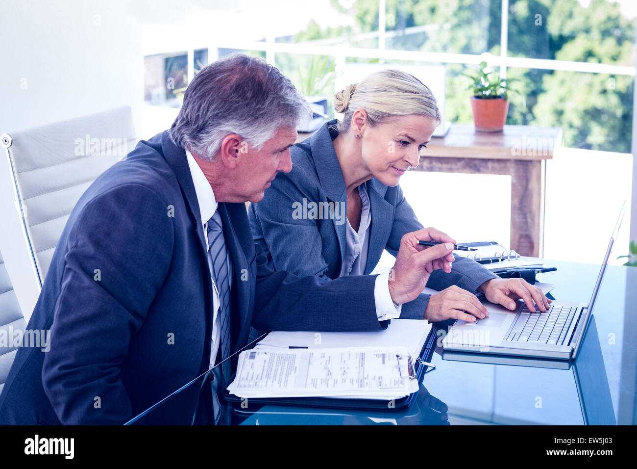 Business team using laptop and planning - Stock Image