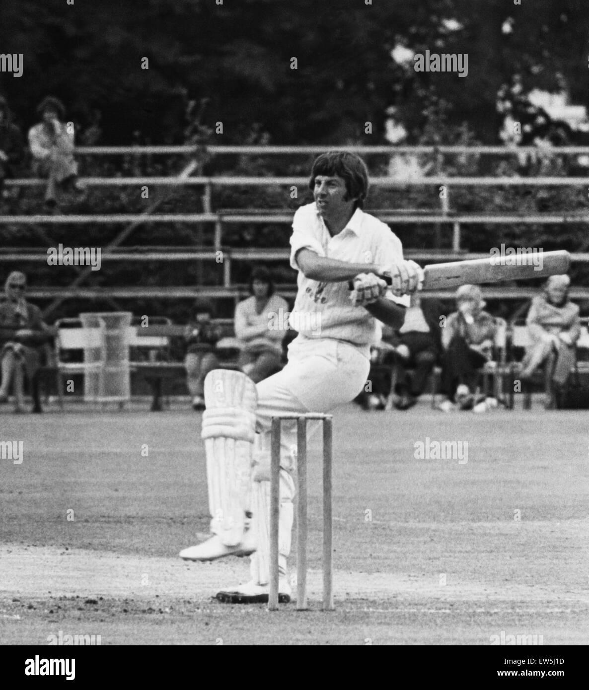 Glamorgan's batsman Roger Davis hits a ball against Warwickshire at Sophia Gardens. Circa 1973. - Stock Image
