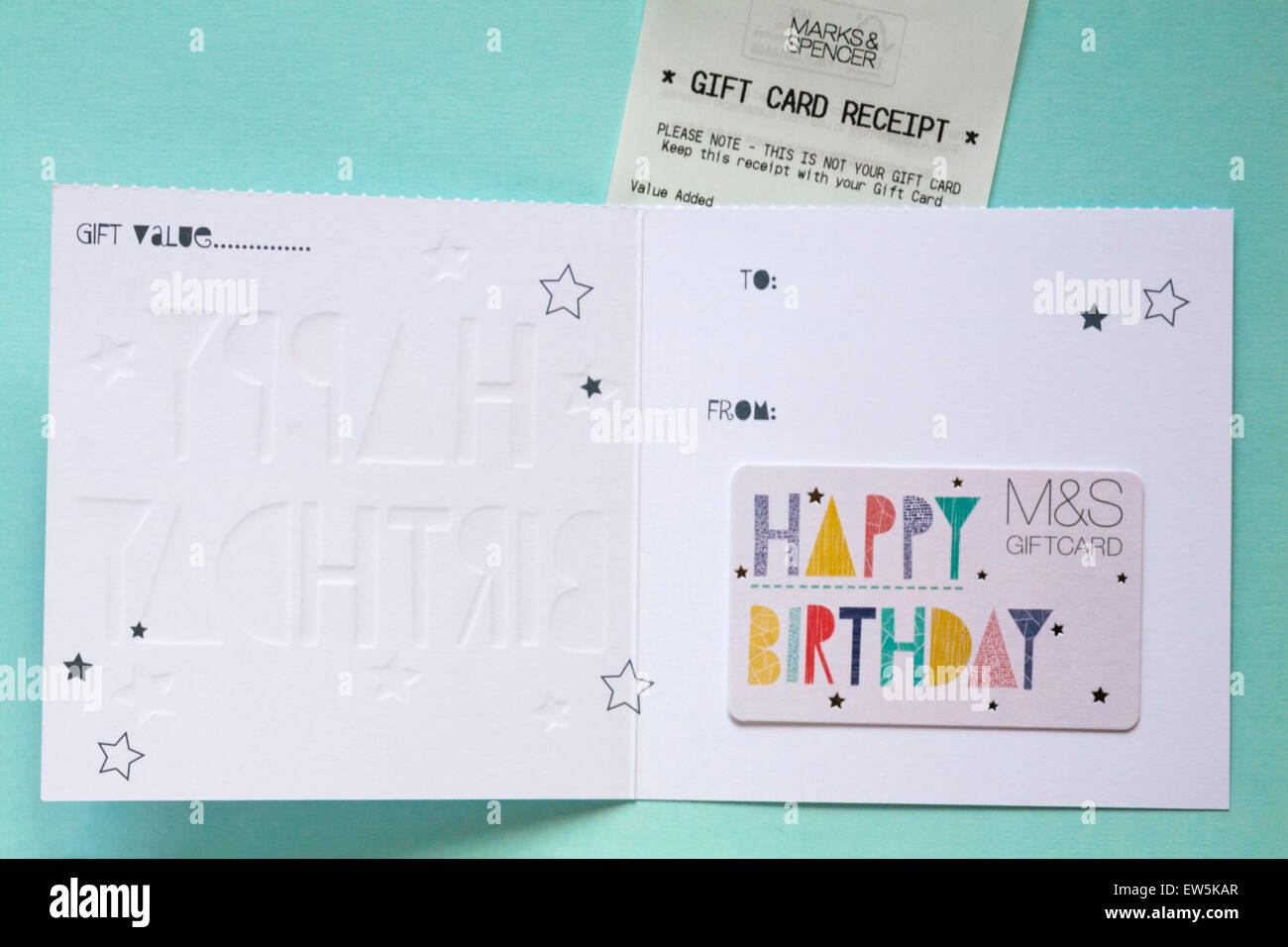 MS Happy Birthday Giftcard With Gift Card Receipt Set On Pale Blue Green Background