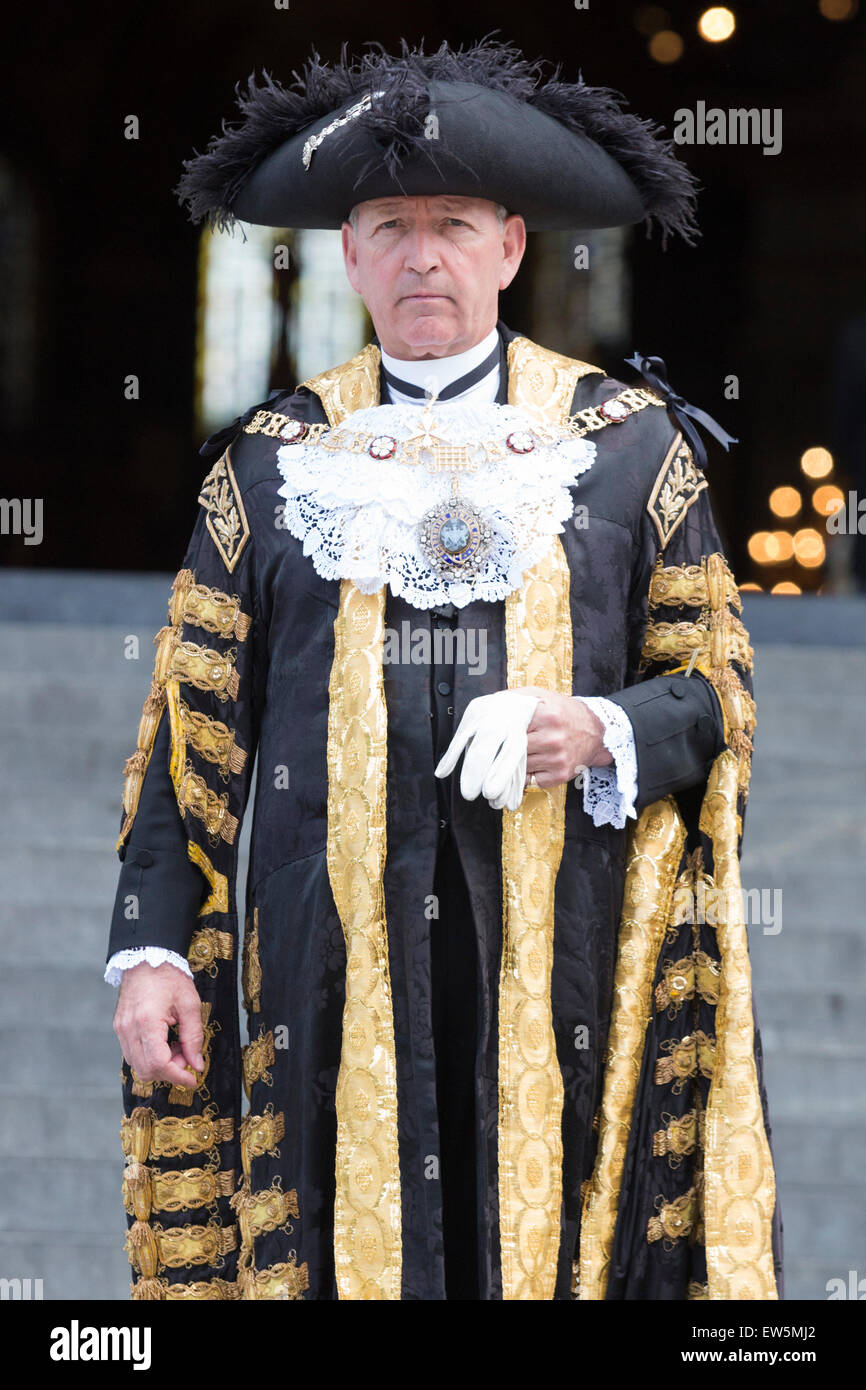 London, UK. 18 June 2015. The Lord Mayor of London, Alan Yarrow, attends the National Service to commemorate the - Stock Image