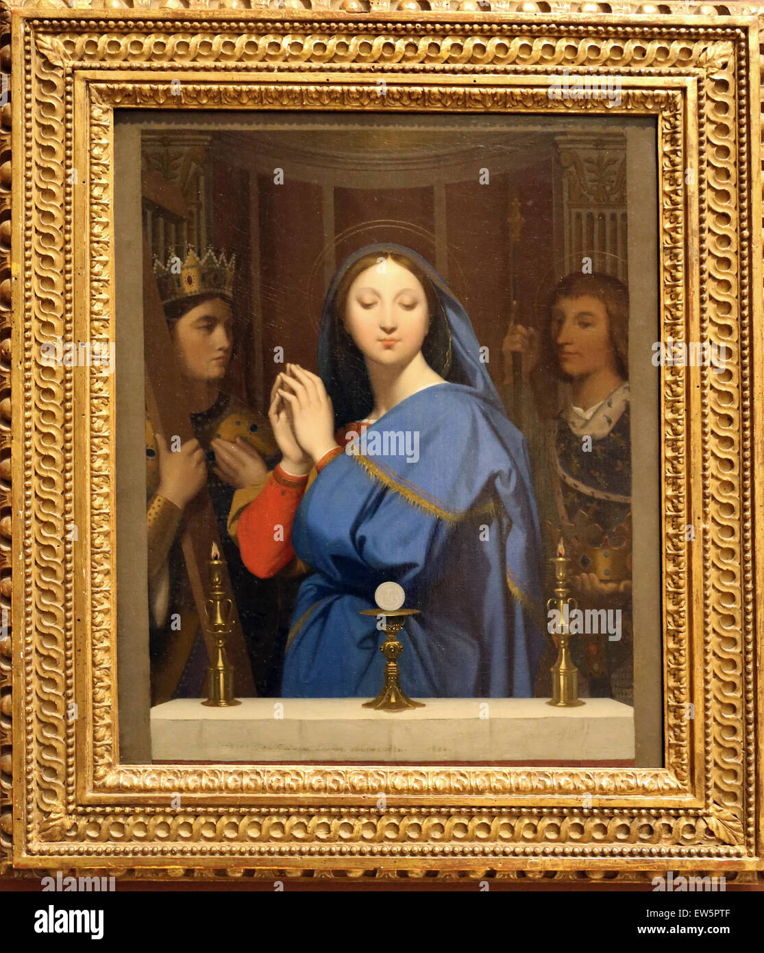 Jean Auguste Dominique Ingres (1780-1867). French painter. The VIrgin Adoring the Host, 1852. Oil on canvas. Metropolitan - Stock Image