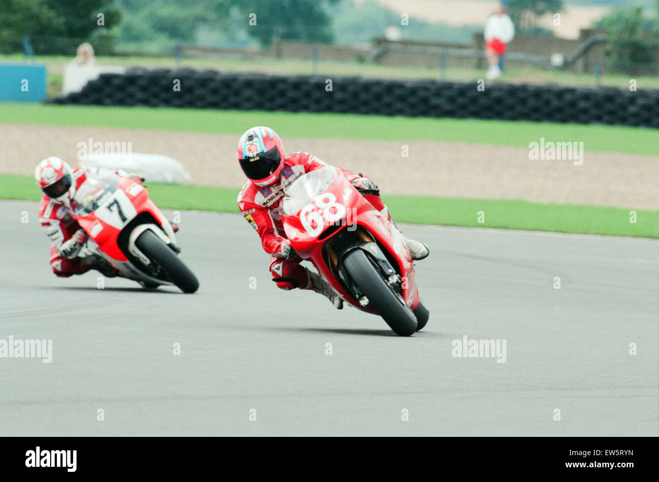 1993 500 CC British Motorcycle Grand Prix, Donington Park, 1st August 1993. No. 68 Carl Fogarty racing a Cagiva Stock Photo