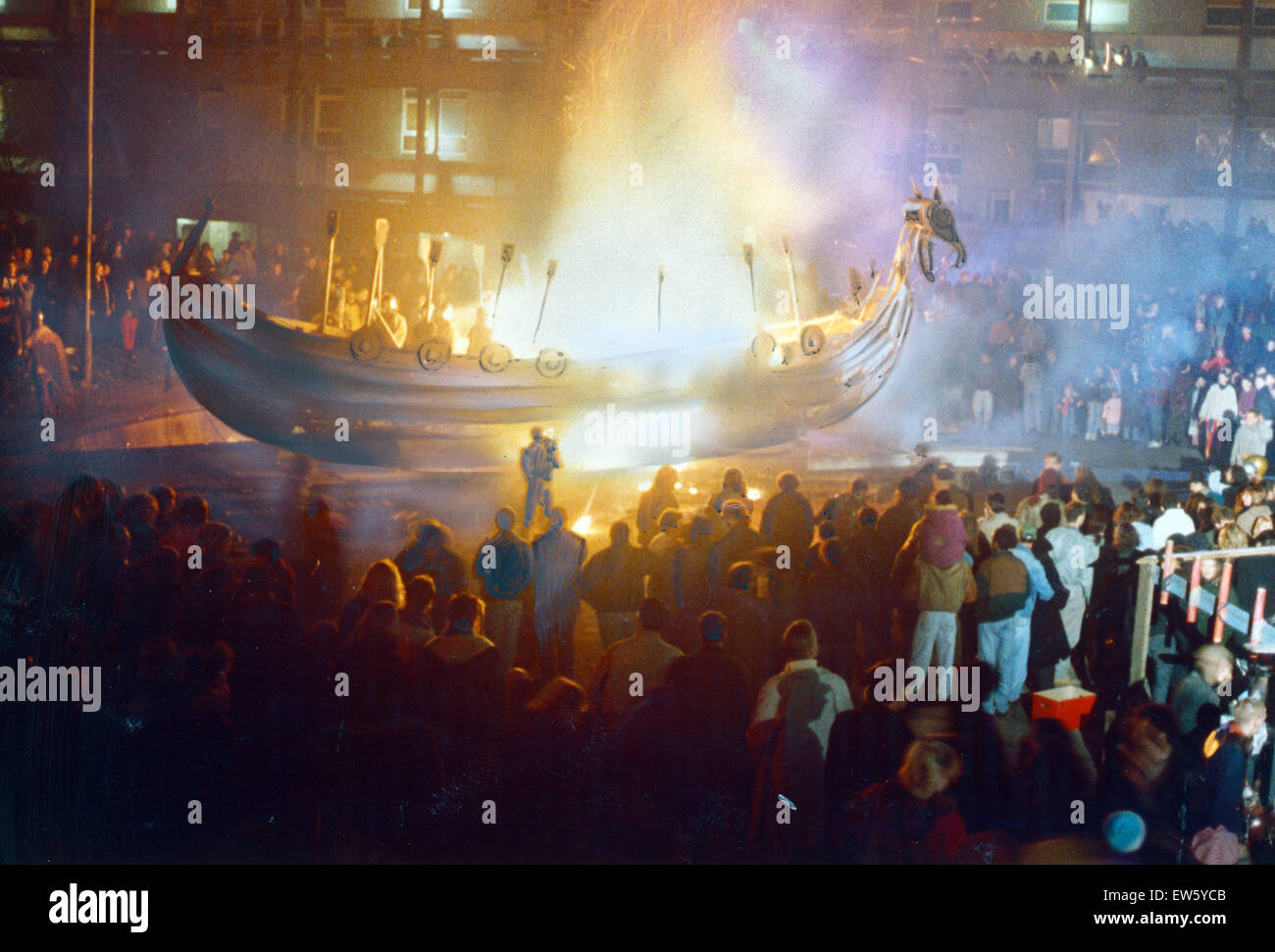 Bonfire Night, Warriors torch a 40ft Vikings boat at a sunken playground in the Crescents area, after parading it - Stock Image