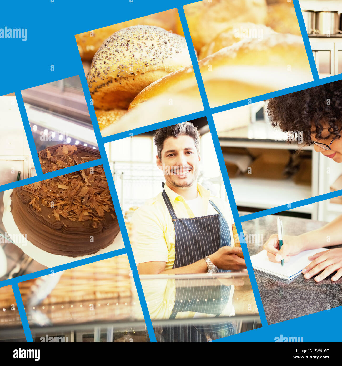 Composite image of close up of delicious breads freshly baked - Stock Image