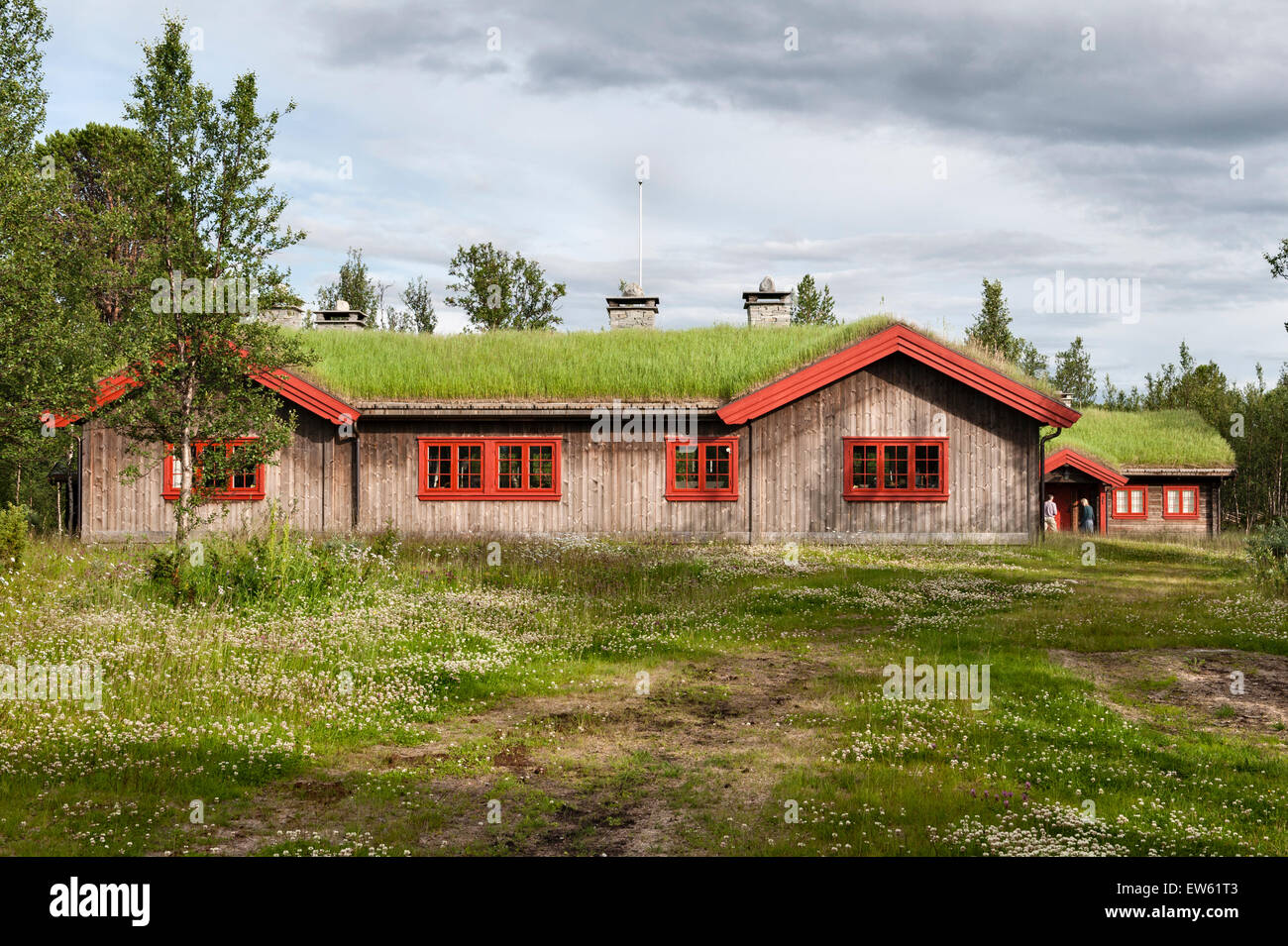 Norway, the Gudbrandsdalen Valley. A traditional turf roofed mountain hut (hytte) on a summer farm (saeter) - Stock Image
