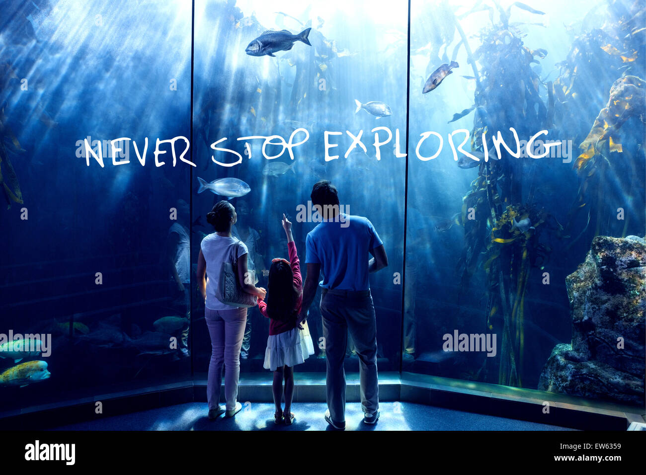 Composite image of never stop exploring - Stock Image