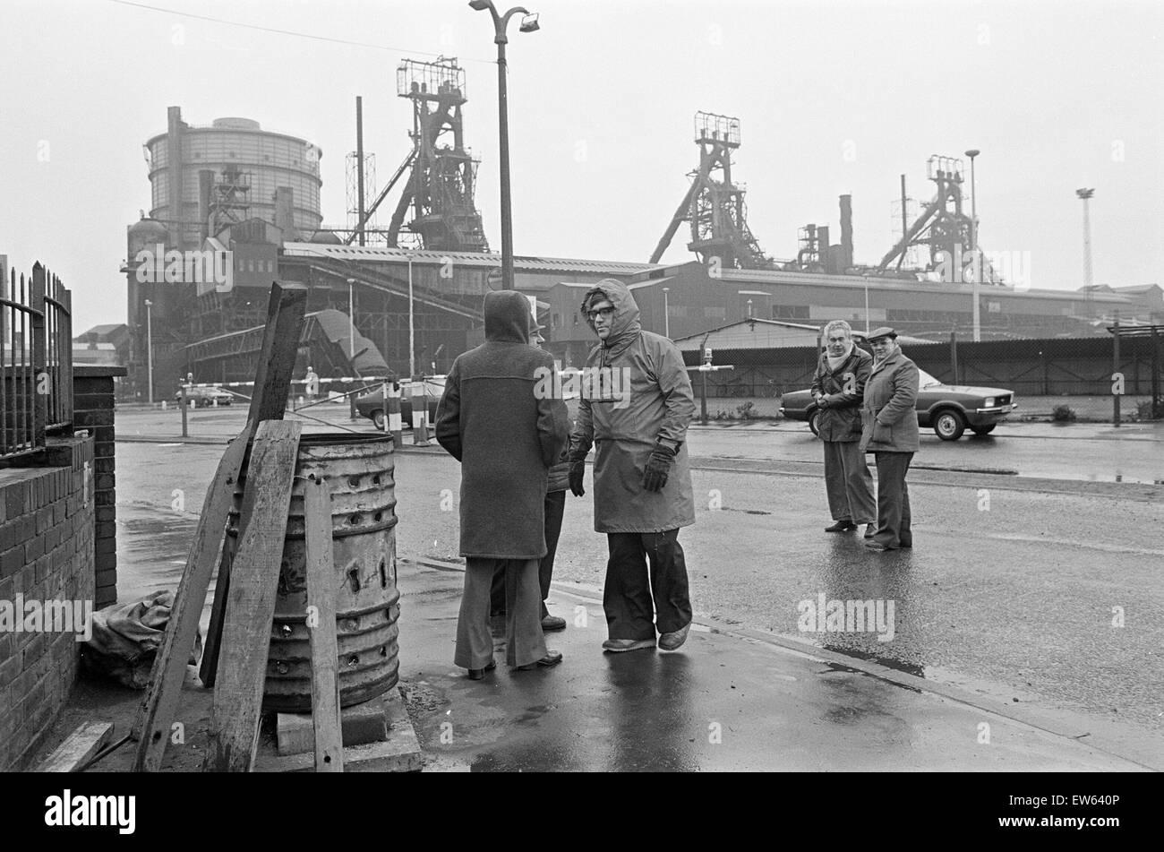 1980 Steel Strike, Shutdown, British Steel Corporation, North Yorkshire, Thursday 3rd January 1980. - Stock Image