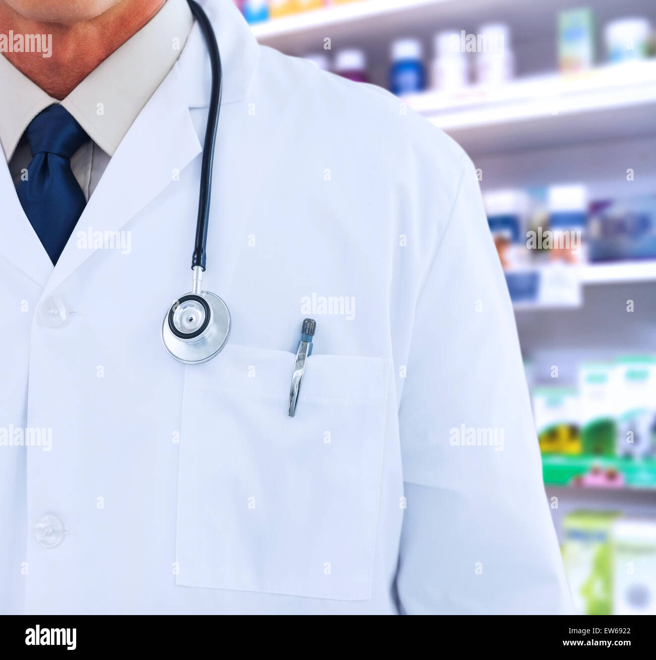 Composite image of doctor wearing lab coat - Stock Image