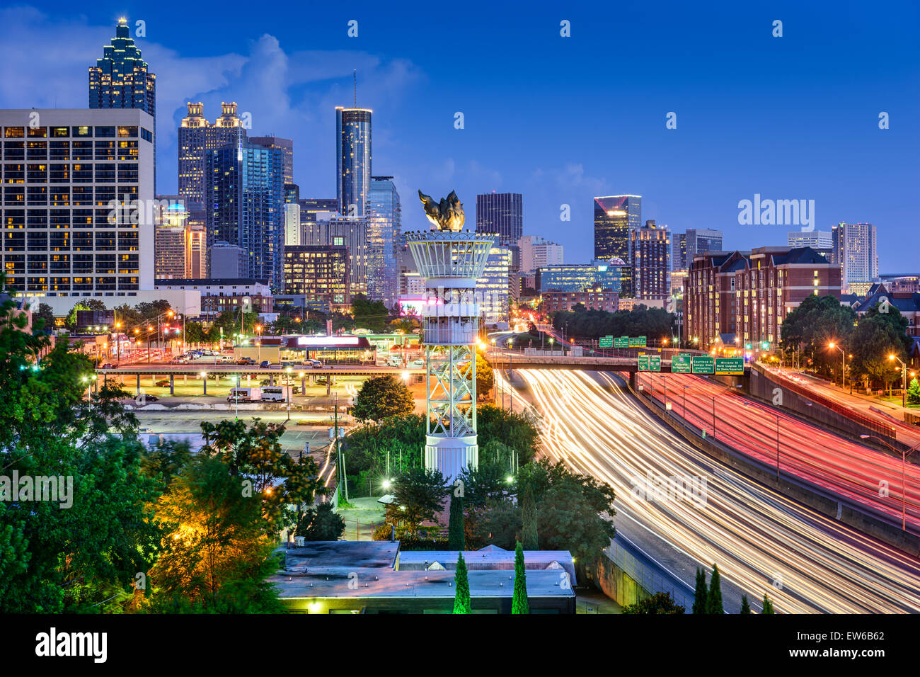 Atlanta, Georgia, USA downtown skyline over Interstate 85. - Stock Image