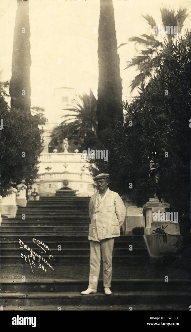 Resting at a resort in Sochi Arboretum, October 1939 - Stock Image