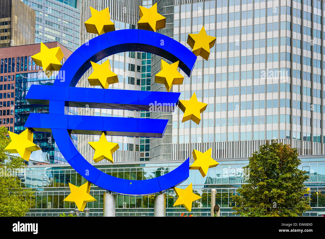 The Euro Sign in Frankfurt, Germany. The sign is part of Eurotower. - Stock Image