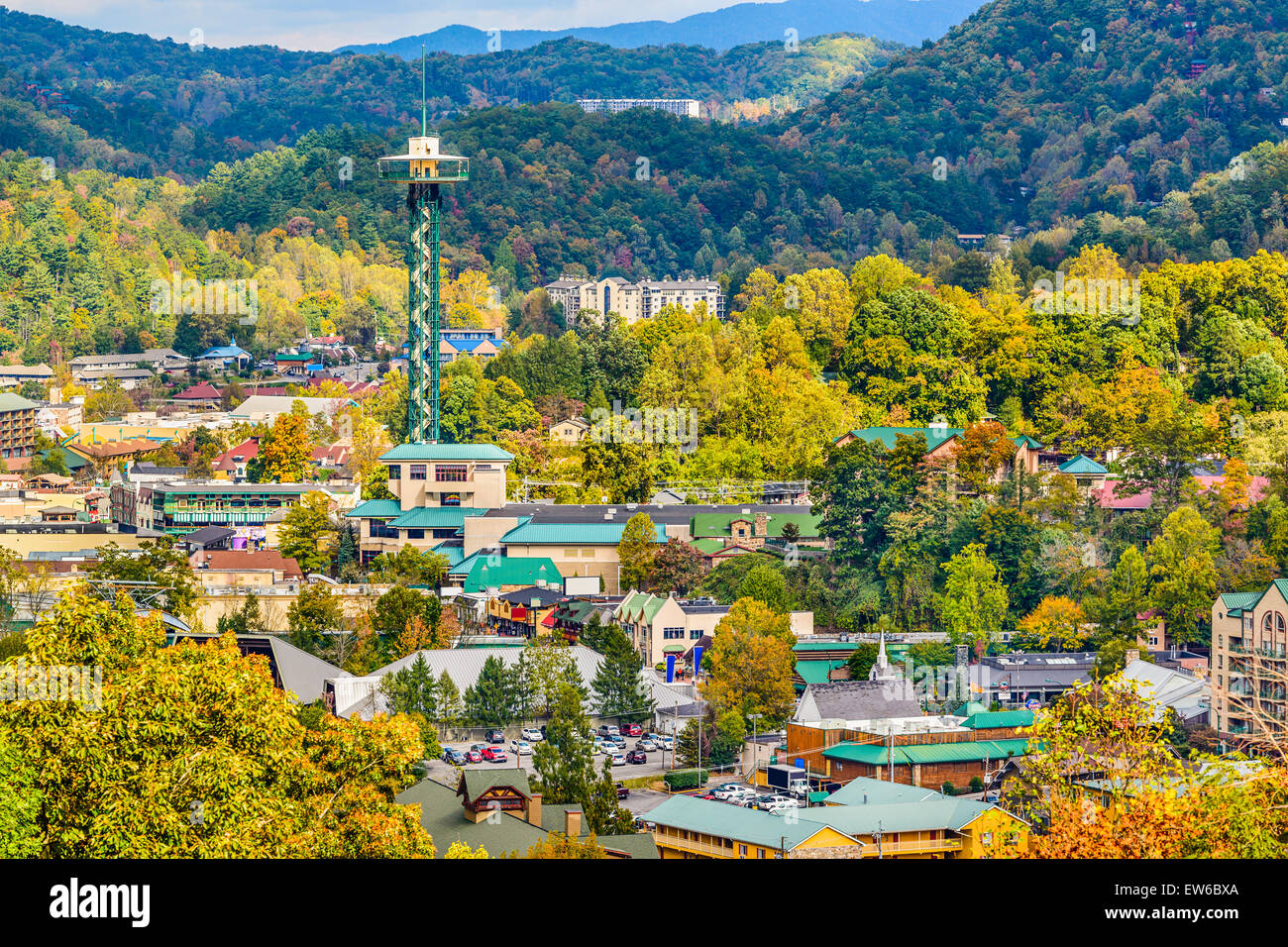 Gatlinburg, Tennessee, USA townscape in the Smoky Mountains. - Stock Image
