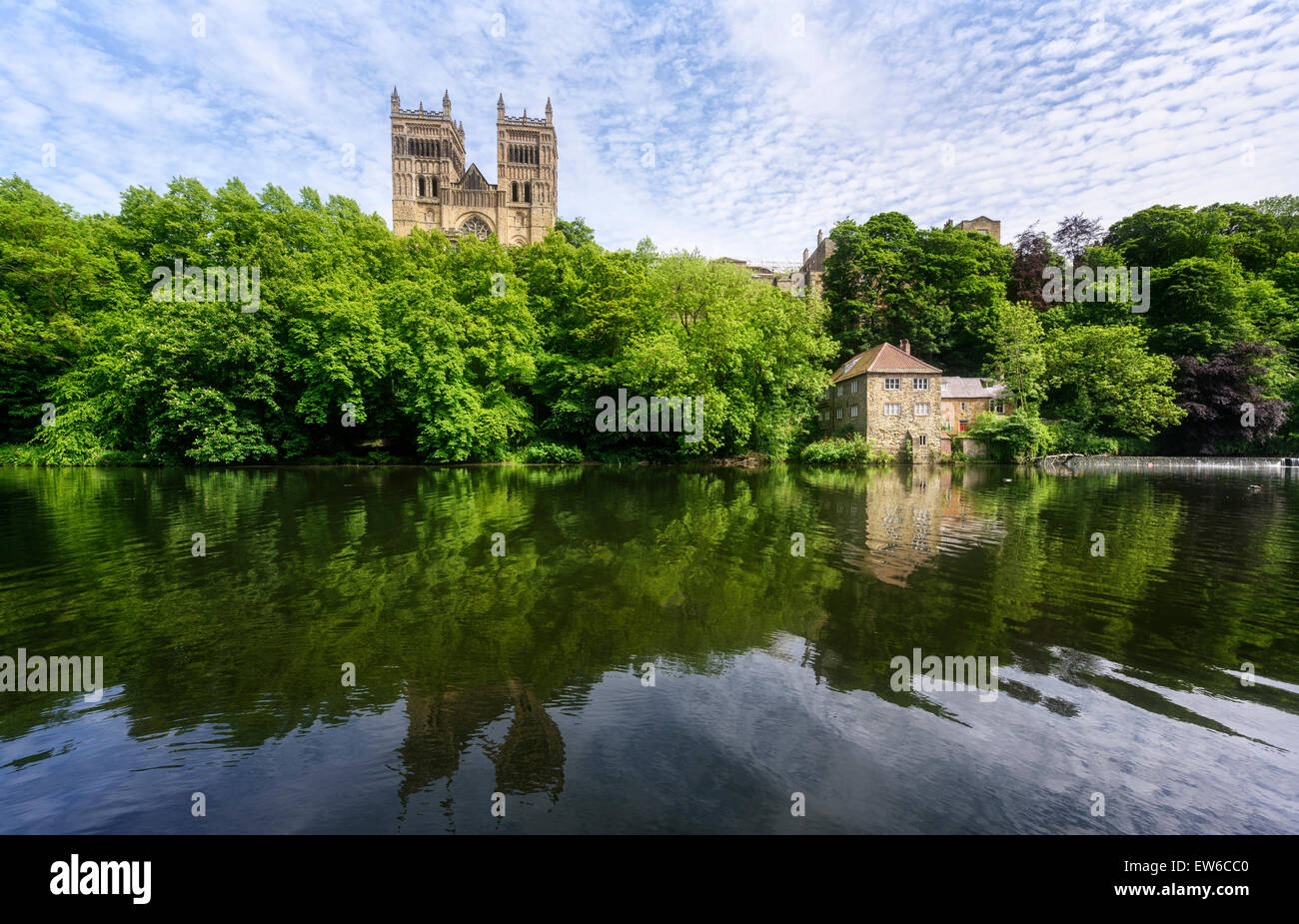River Wear, Durham Cathedral and the Old Fulling Mill - Stock Image