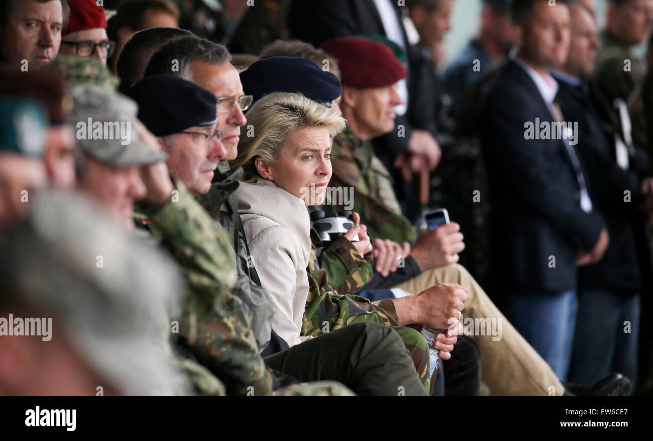 German Defence Minister Ursula von der Leyen attends the first 'Noble Jump' maneuvers following the redeployment - Stock Image