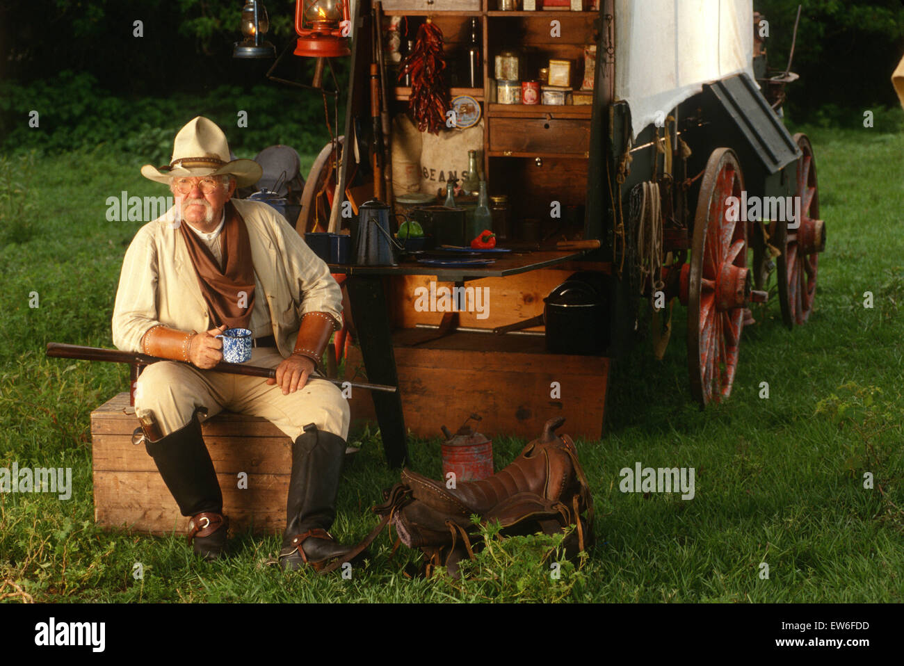 Living history reenactment of a wild west cowboy from the ...