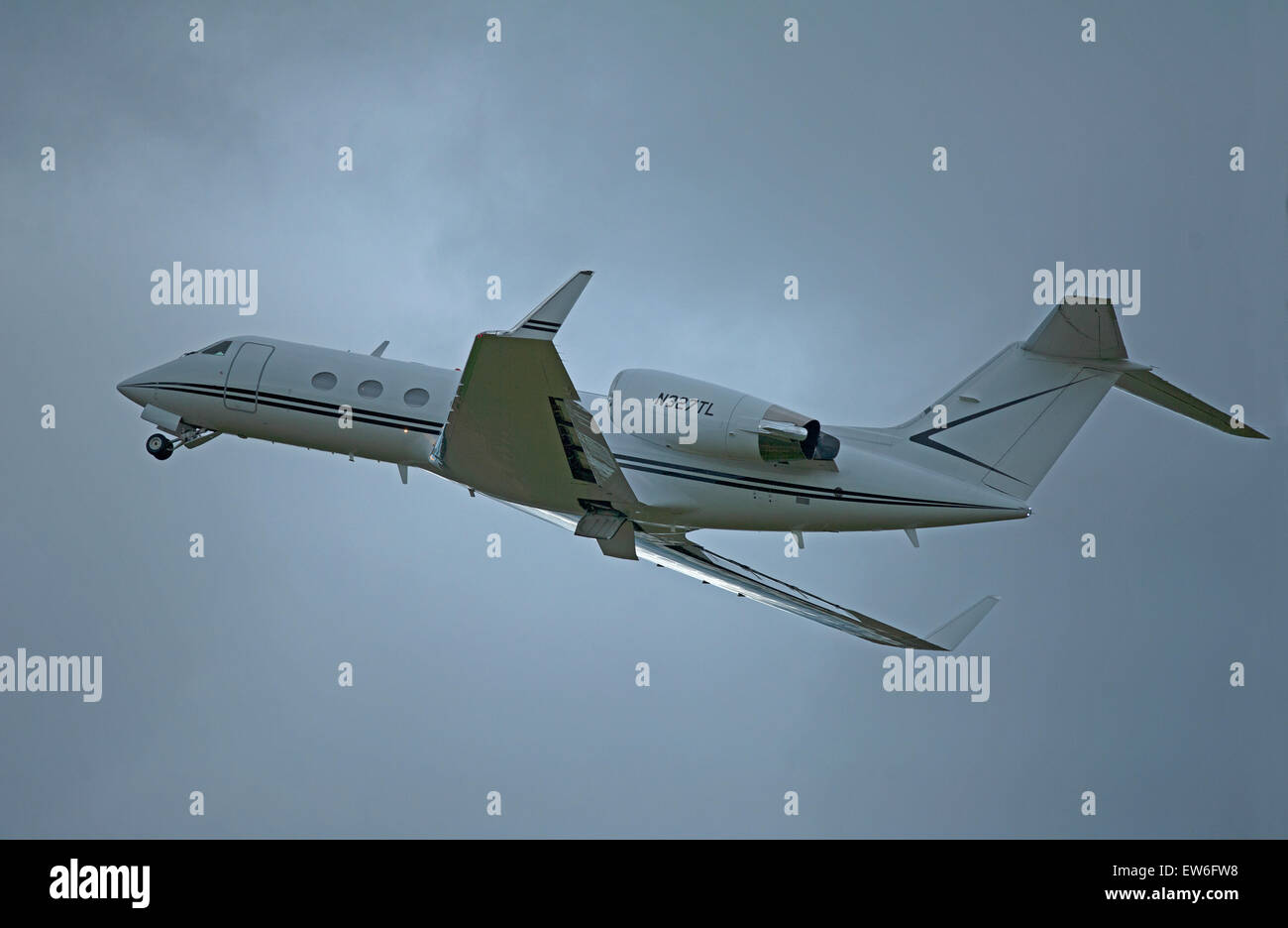 Gulfstream Aerospace G-IV Gulfstream IV-SP (N327TL) leaving Inverness airport, Scotland.  SCO 9896. - Stock Image