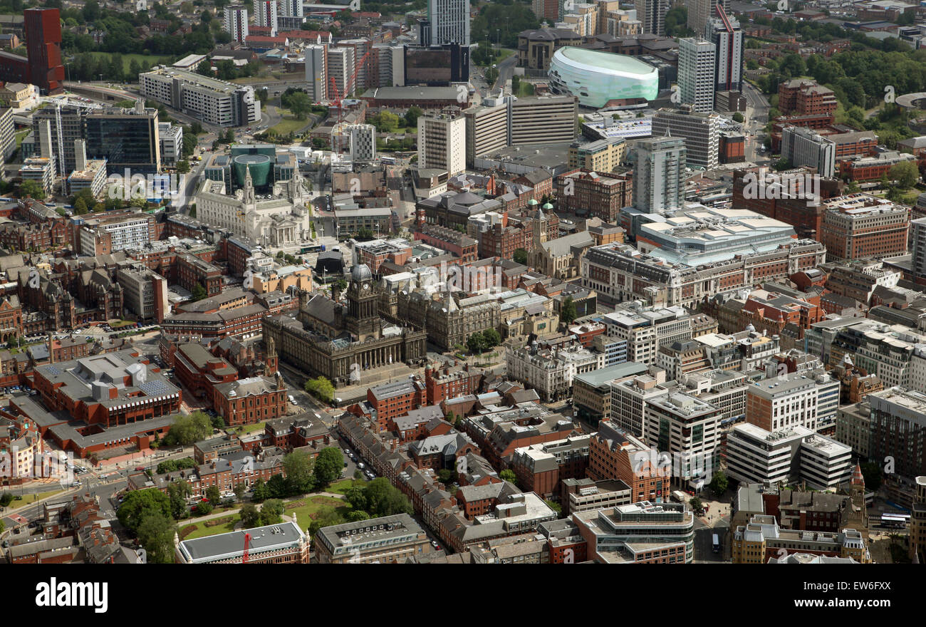 aerial view of Leeds Town Hall and the Headrow, Leeds city centre, UK - Stock Image
