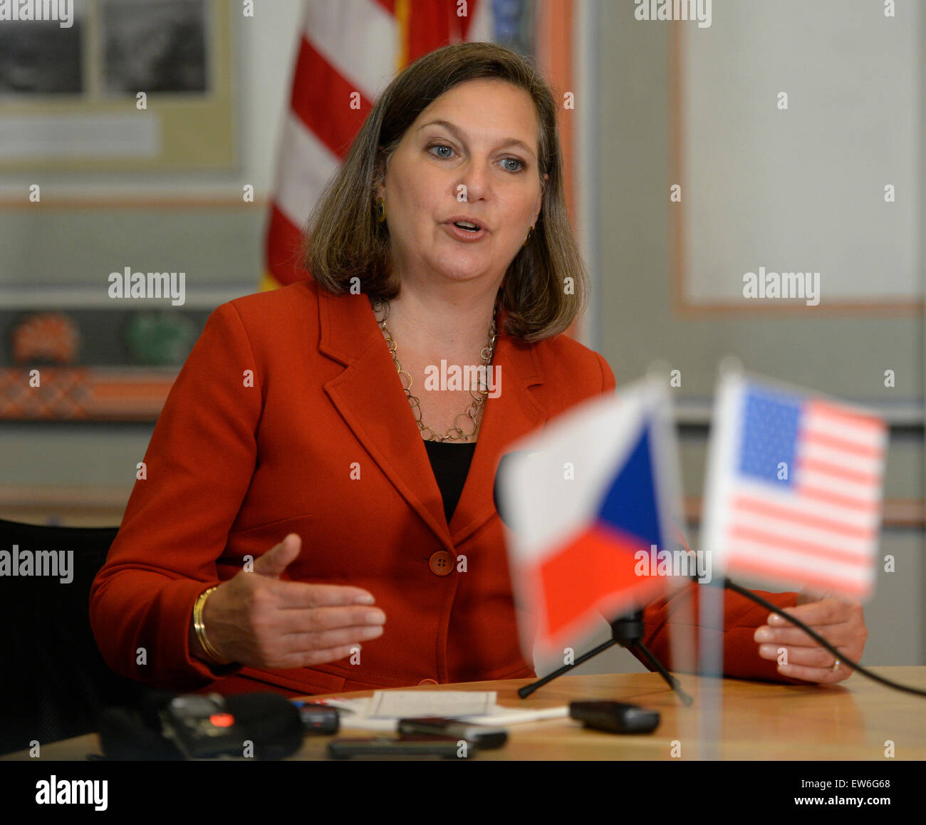 U.S. Assistant Secretary of State for European and Eurasian Affairs Victoria Nuland speaks to media as she attends - Stock Image