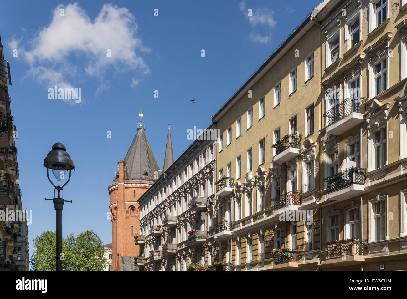 Chamisso district, Old House Facades,  Kreuzberg, DTK Water Tower,  Berlin - Stock Image