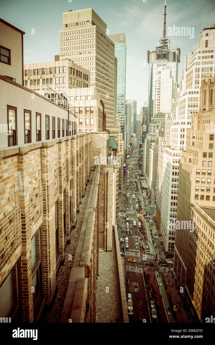 New York busy road from the roof top Stock Photo