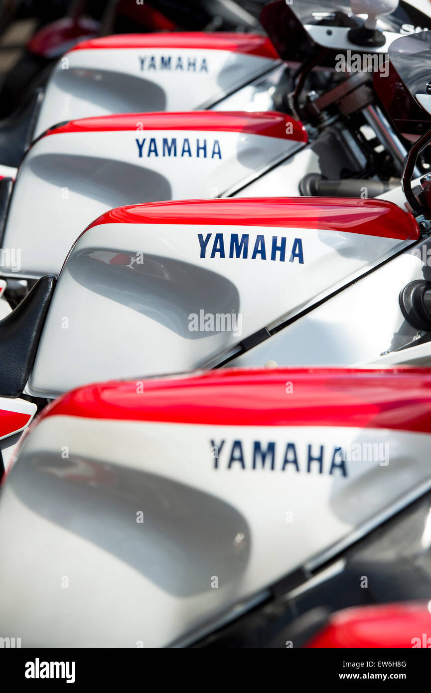 Yamaha motorcycle in a line. Sports Motorcycle detail - Stock Image