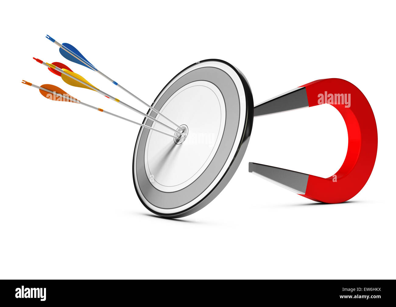 One target with many colorfull arrows hitting the center with a horseshoe magnet at the background. Concept image - Stock Image