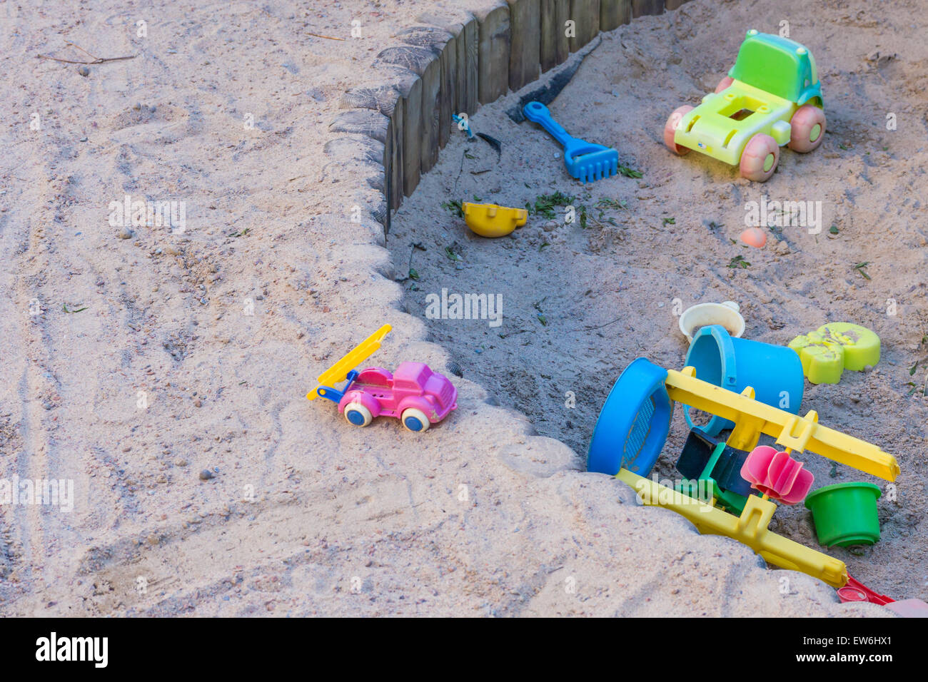 Toys in a Sandbox - Stock Image