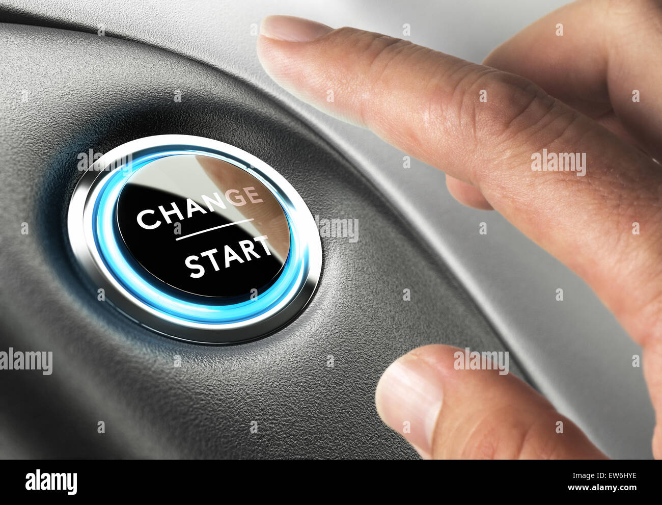 Finger about to press a change button. Concept of change management or changing life - Stock Image