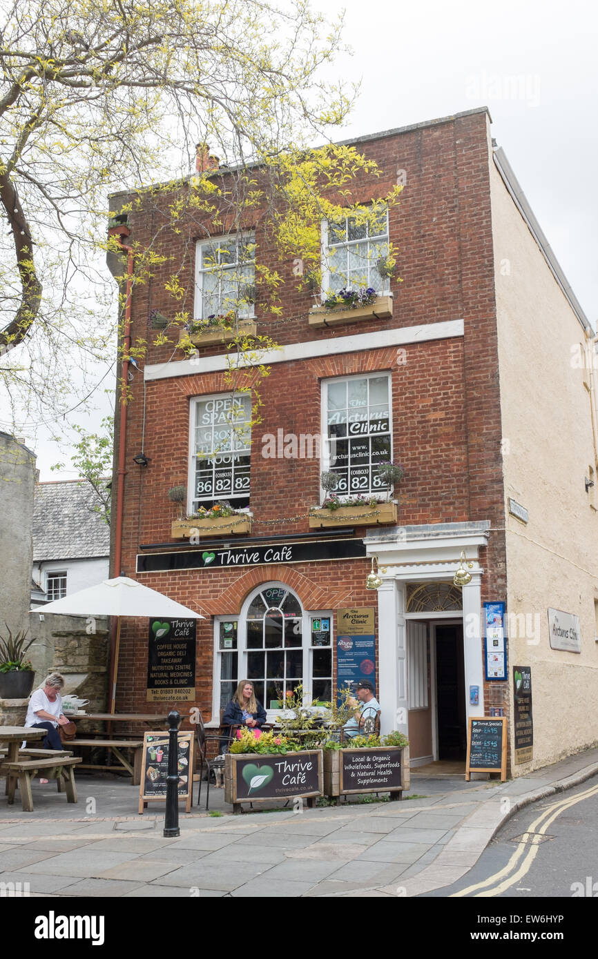 Thrive Cafe in Fore Street, Totnes - Stock Image