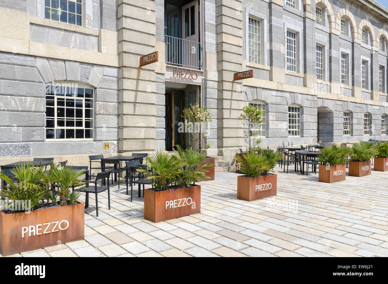 Flower Planters Outside Prezzo Restaurant In Royal William Yard, Plymouth