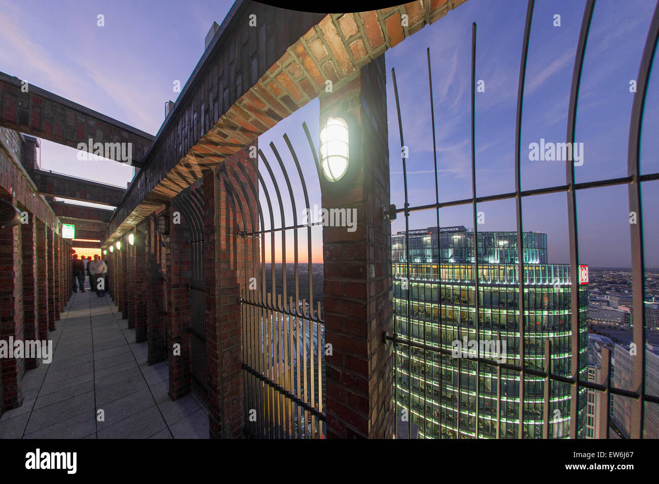 Panoramic View from Kollhoff Tower, Sony Center ,  DB tower, Berlin, Germany, - Stock Image