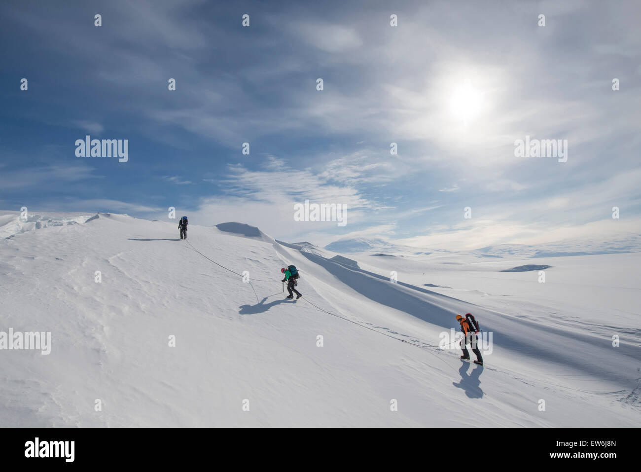 Members of the Joint Antarctic Search and Rescue Team train near crevasses on Ross Island, Antarctica. - Stock Image