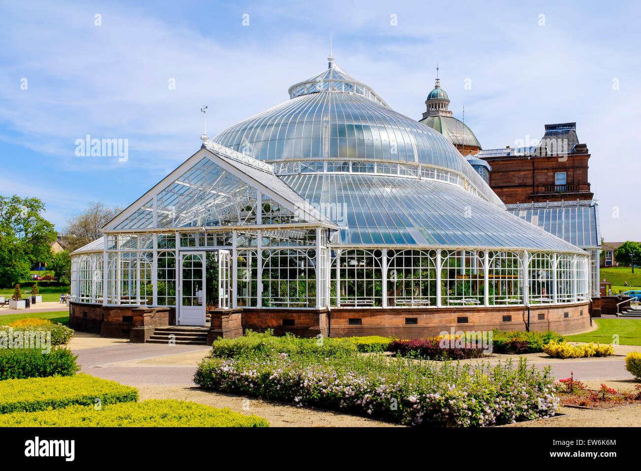 Conservatory at the botanical garden section of the Peoples Palace housing exotic plants, Glasgow Green, Glasgow, - Stock Image