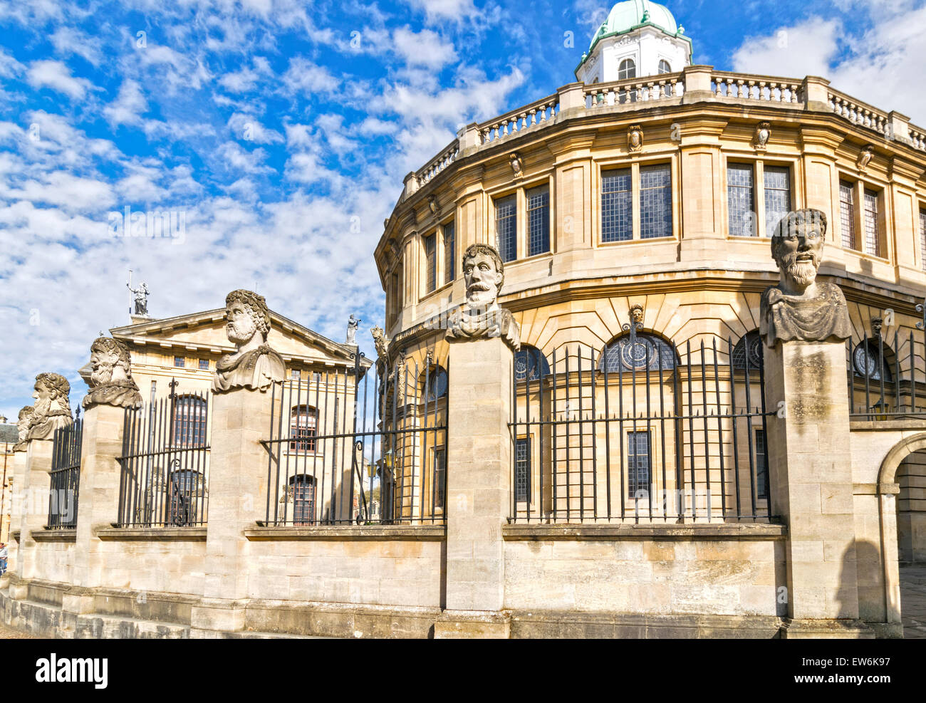 OXFORD CITY THE ROW OF  EMPEROR HEADS OR HERMS AT THE SHELDONIAN THEATRE Stock Photo