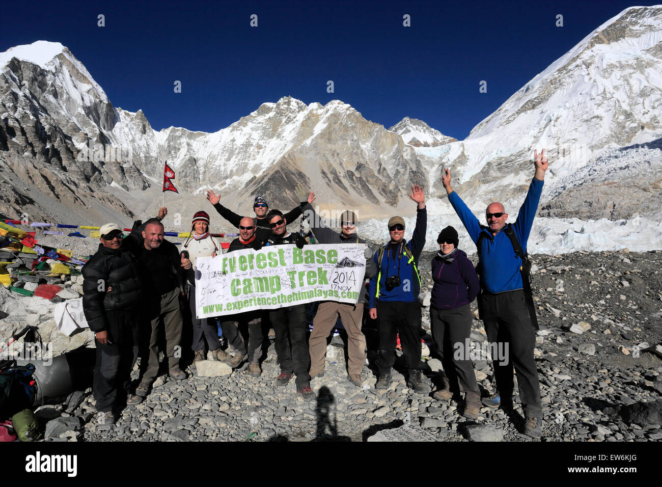 Trekkers at Everest base camp, UNESCO World Heritage Site, Sagarmatha National Park, Solu-Khumbu district, Khumbu - Stock Image