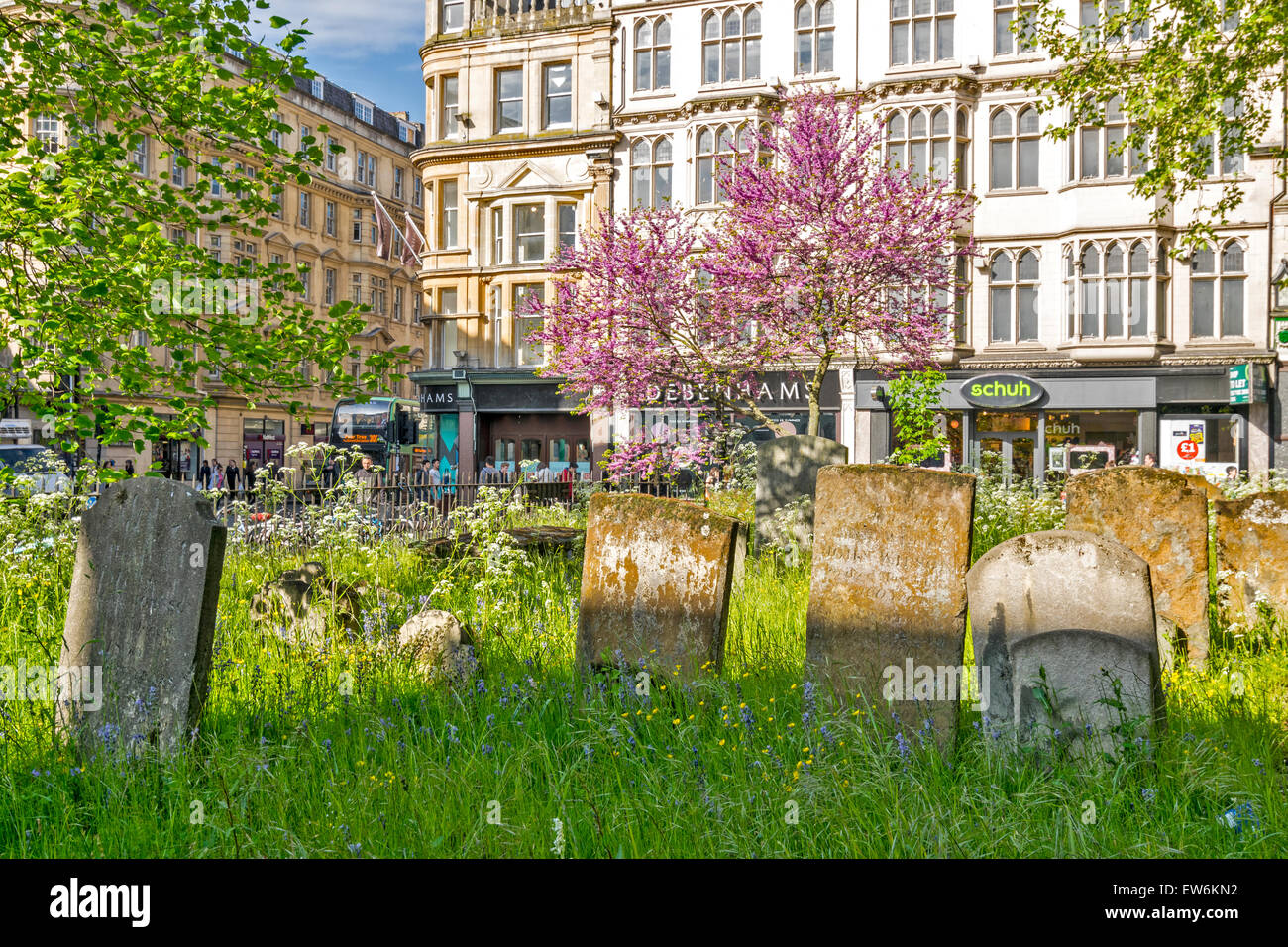 ST. MARY MAGDALEN GRAVEYARD AND OLD TOMBSTONES WITH PINK FLOWERING TREE CENTRE OF OXFORD ON MAGDALEN STREET - Stock Image