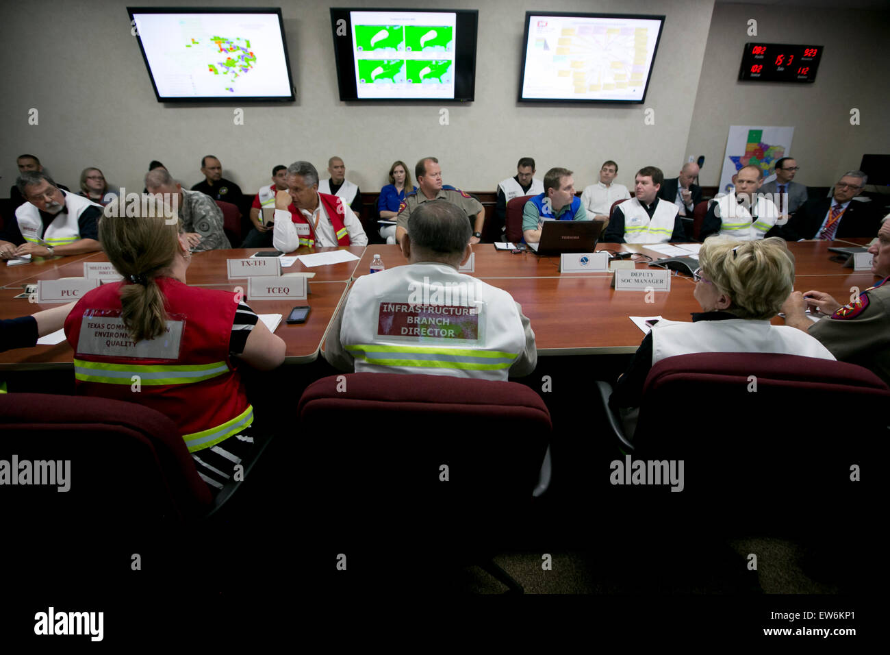 Texas Gov. Greg Abbott received a briefing on Tropical Storm Bill at the Texas State Operations Center at the Texas - Stock Image