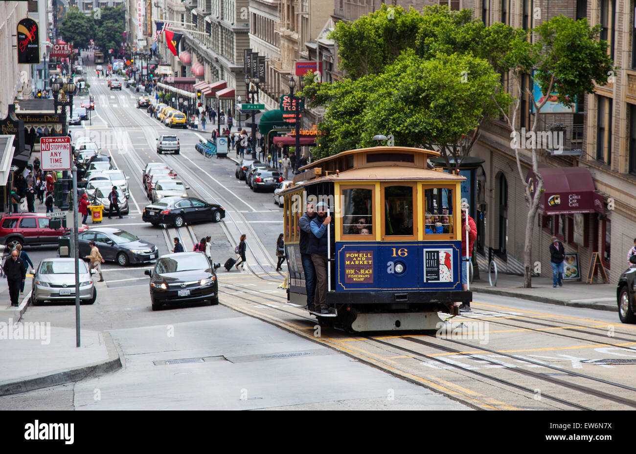 A Cable Car Going up Powell Street in Downtown San Francisco, USA - Stock Image