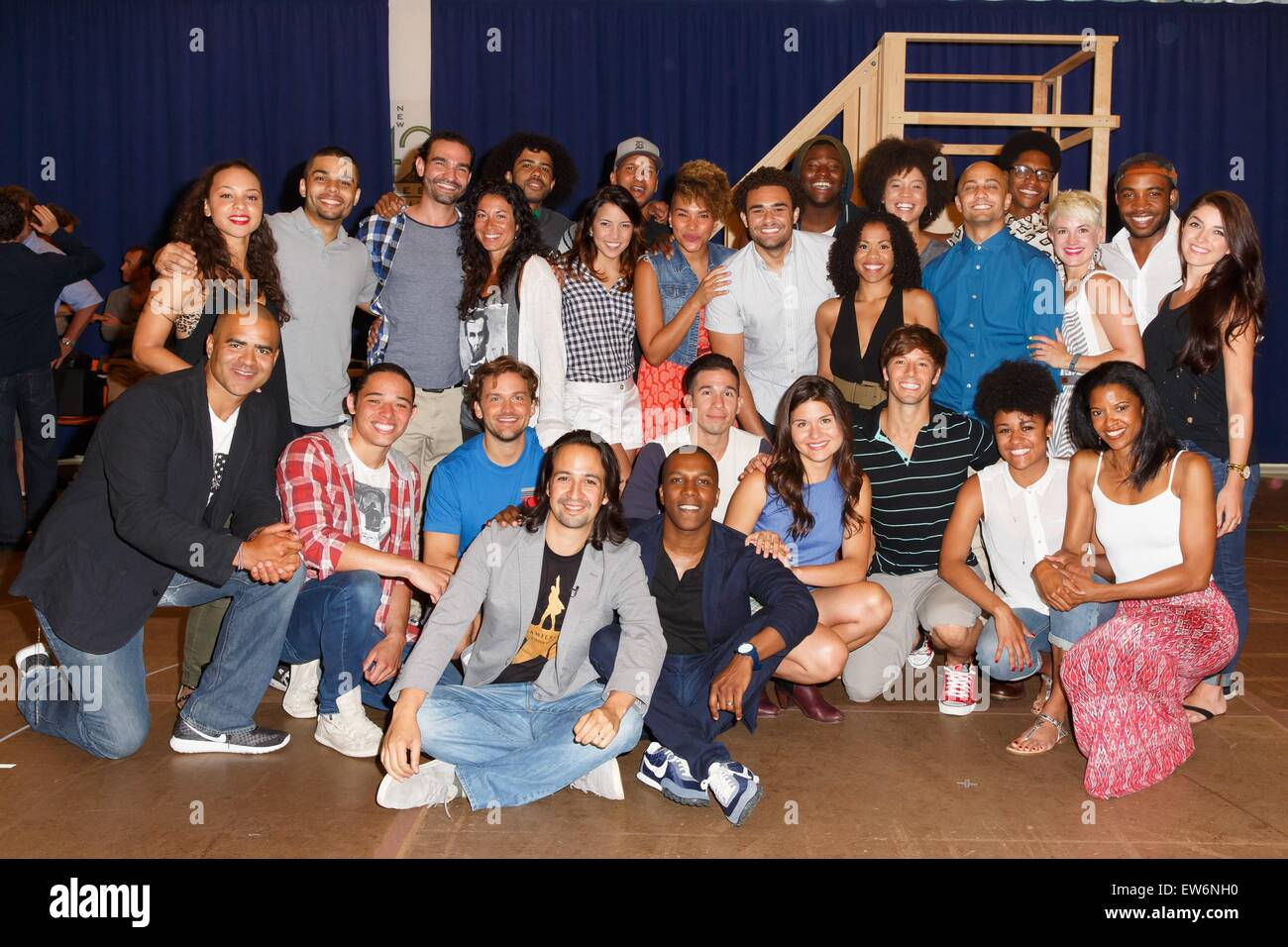 New York, NY, USA. 18th June, 2015. The cast of Hamilton in attendance for HAMILTON Begins Broadway Rehearsals, Stock Photo