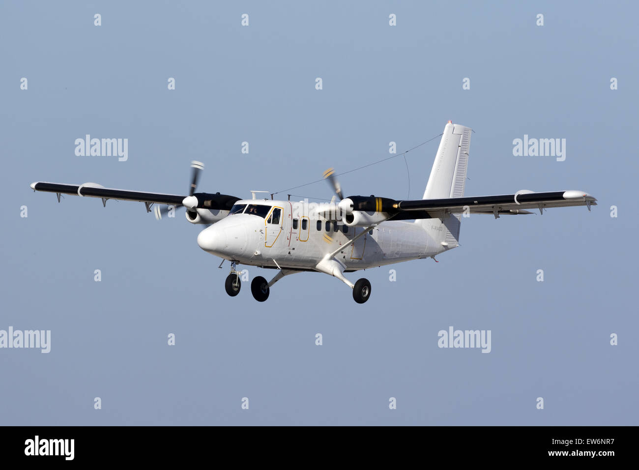 French Air Force DeHavilland Canada DHC-6 Twin Otter landing runway 31. Stock Photo