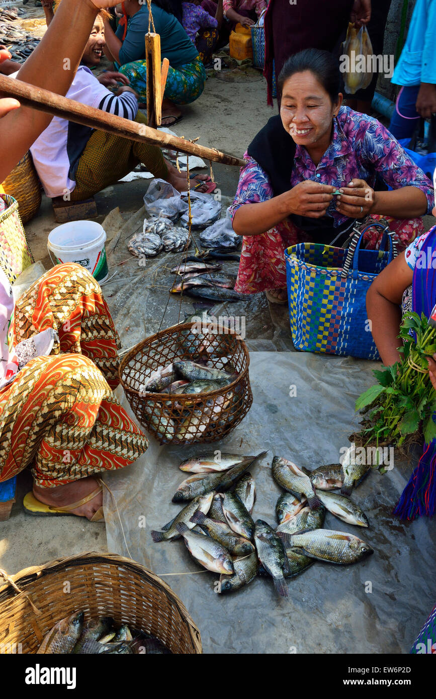 Woman buying fish from river side stall at one of the 5 day rotating markets at  Nampan Market on Inle Lake,Shan - Stock Image