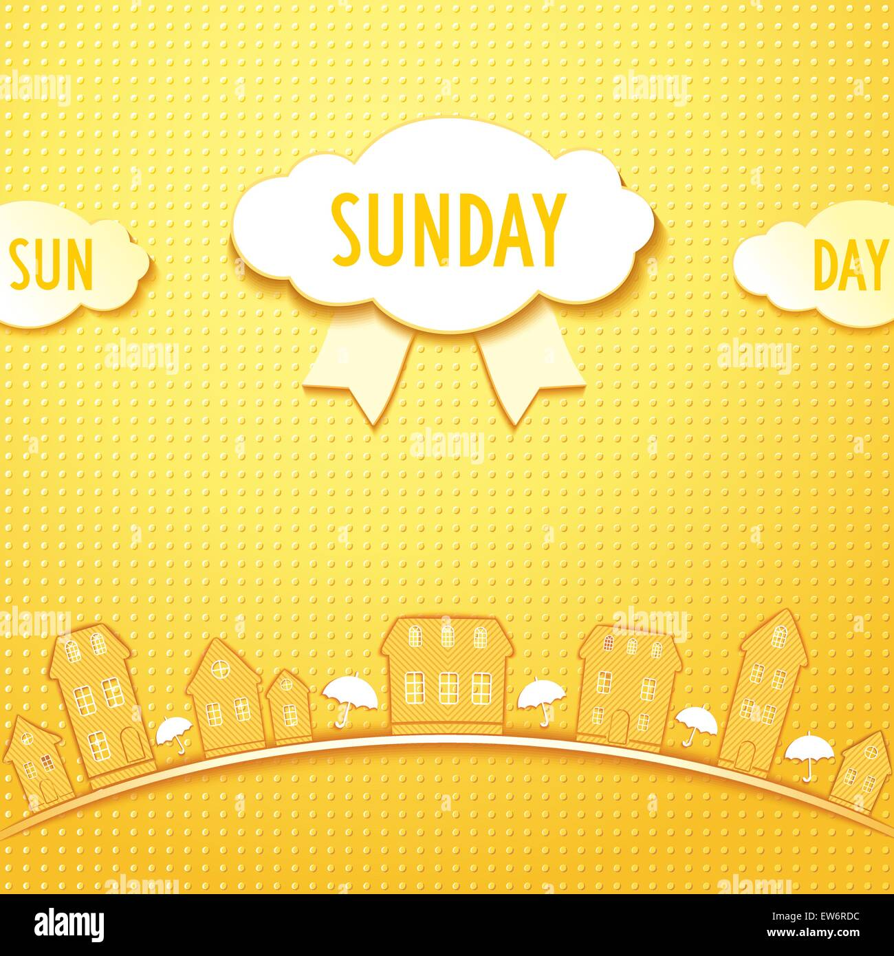 Sunday in city with sun umbrellas and clouds. Vector eps 10 - Stock Vector