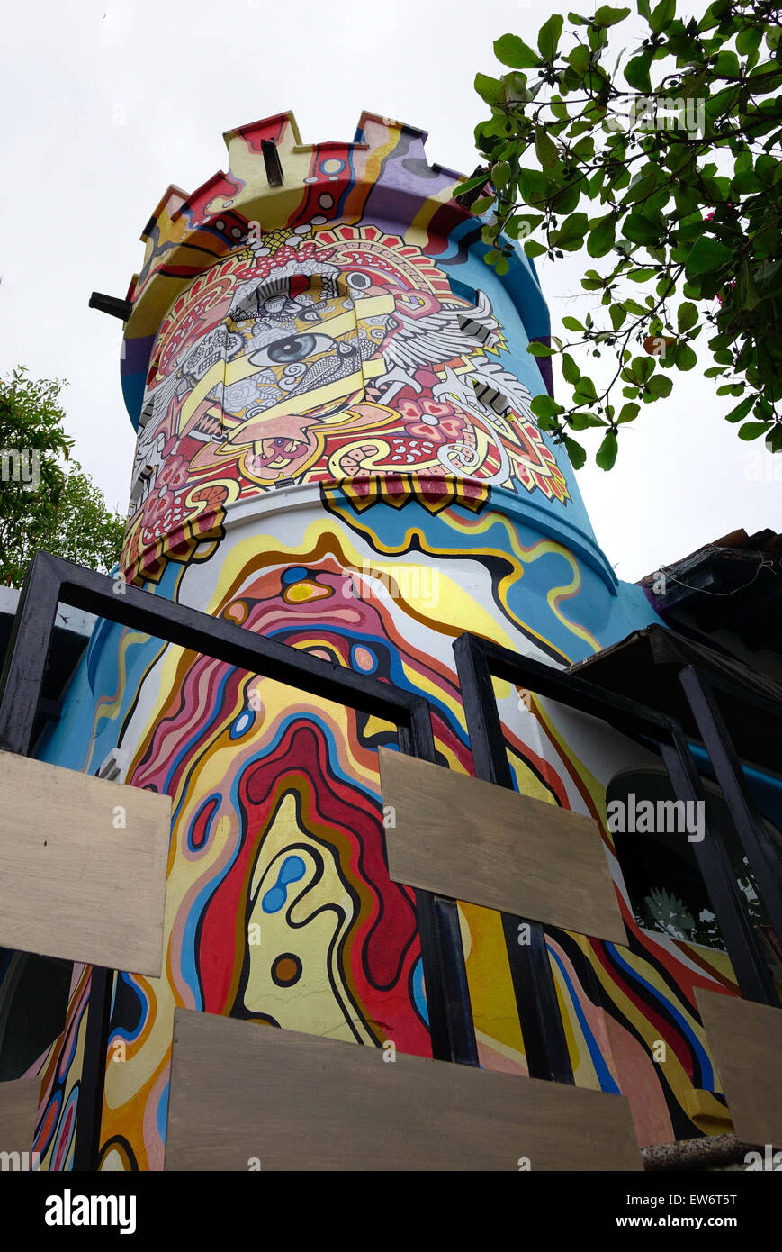 Colorful tower, entrance to Cafe des Artistes, a restaurant in Puerto Vallarta, Mexico - Stock Image